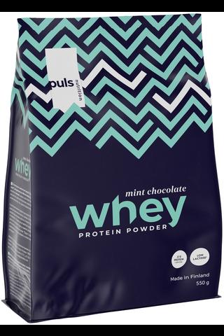 Puls WHEY 600g Minttusuklaanmakuinen proteiinijuomajauhe.