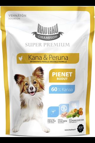 Hau-Hau Champion 800g Super Premium kana-peruna pienille aikuisille koirille