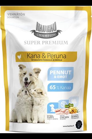Hau-Hau Champion 1,5kg kana-peruna täysravinto koiranpennuille ja emoille