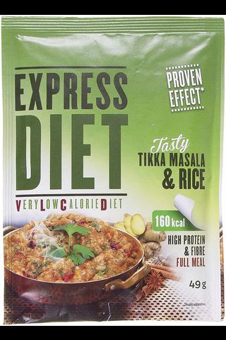 Express diet 49 g Tikka Masala Rice -ateria-aines: Kananmakuinen riisi - kasvis mausteseos.
