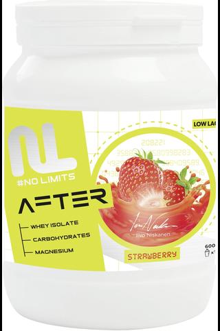 Leader No limits after proteiini-hiilihydraatti juomajauhe mansikanmakuinen 600 g