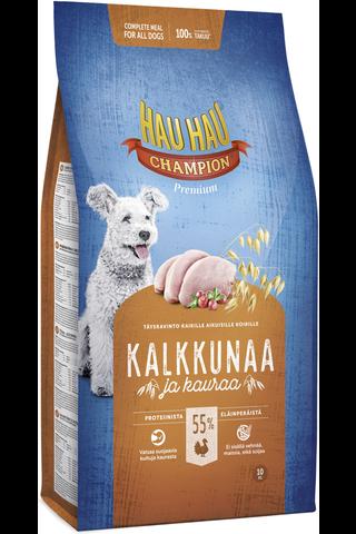 Hau-Hau Champion 10kg kalkkuna-kaura täysravinto koiralle