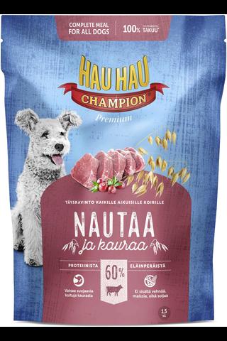 Hau-Hau Champion 1,5kg nauta-kaura täysravinto koiralle