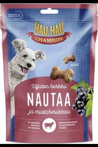 Hau-Hau Champion Nautaa ja mustaherukkaa viljaton rapea 150g