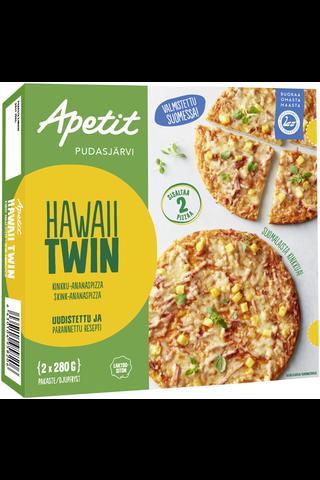Apetit 2x280g Pizza Hawaii Twin Kinkku-ananaspizza Pakaste