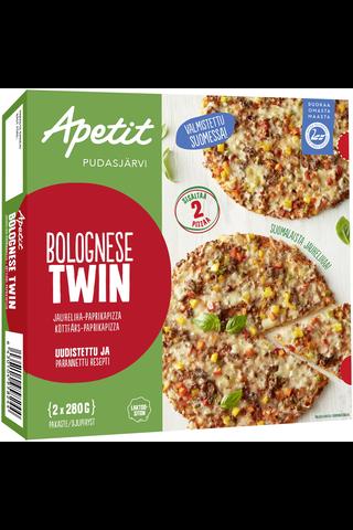 Apetit 2x280g Pizza Bolognese Twin Jauheliha-paprikapizza Pakaste