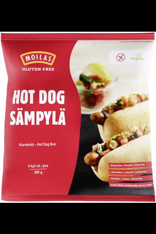 Moilas Gluten-Free Hot Dog -sämpylä, 4kpl/260g, gluteeniton, pakaste