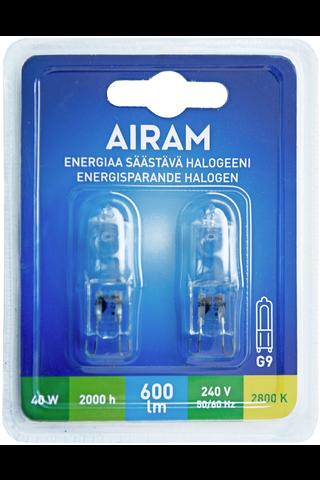 Airam Ecohalogen 40 G9 2-pack blister 600lm 2000h