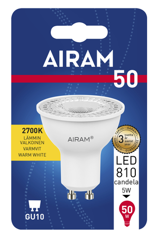 Airam Led 6W Kohdelamppu PAR16 GU10 2700K 750cd 25 000h