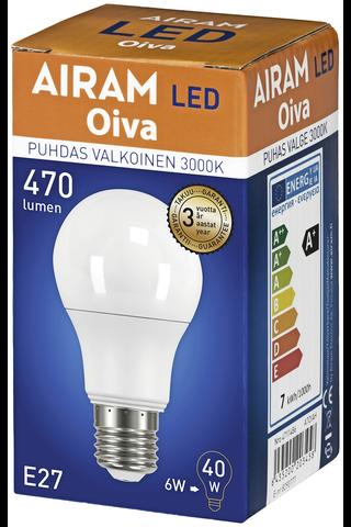 Airam Oiva LED 6,5W E27 vakiolamppu 470lm 3000K 15 000h