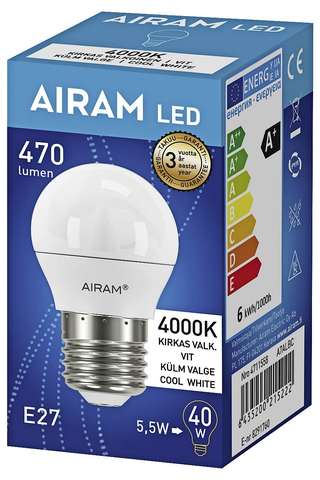 Airam Led 5,5W/840 E27 koriste 500lm