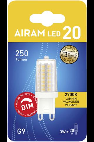 Airam led polttimo lasi 3W G9 himmennettävä 2700K