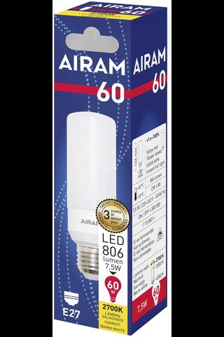 Airam led tubular 7,5W E27 806LM 2700K airam