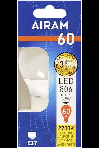 Airam led 8,5W vakio opaali E27 806lm 2700K