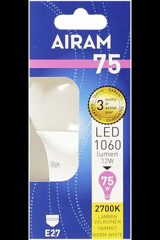 Airam led 12W vakio opaali E27 1060lm 2700K