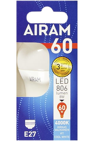Airam led 8W koriste opaali E27 806lm 4000K