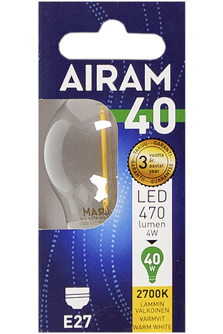 Airam led 4W koriste filamentti E27 470lm 2700K