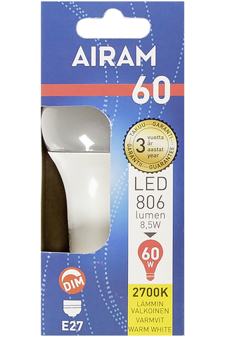 Airam led 8,5W vakio opaali E27 806lm 2700K himmennettävä