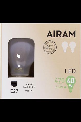 Airam led 4,5W vakio matta E27 470lm 2700K 2-pack