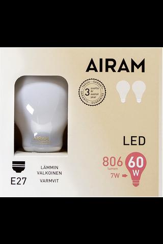 Airam led 7W vakio matta E27 806lm 2700K 2-pack