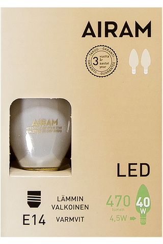 Airam led 4,5W kynttilä matta E14 470lm 2700K 2-pack