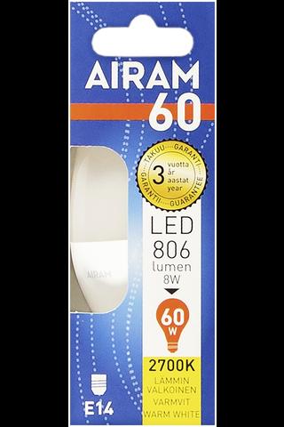 Airam led 8W kynttilä opaali E14 806lm 2700K