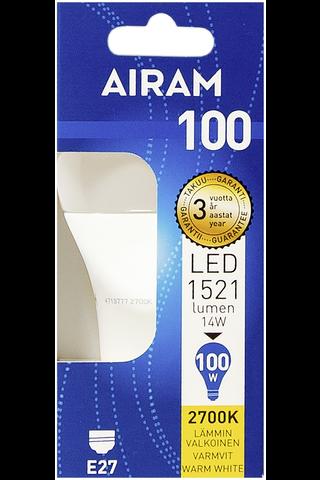 Airam led 14W vakio opaali E27 1521lm 2700K