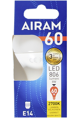 Airam LED 8W mainos opaali E14 806lm 2700K