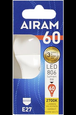 Airam led 8W koriste opaali E27 806lm 2700K