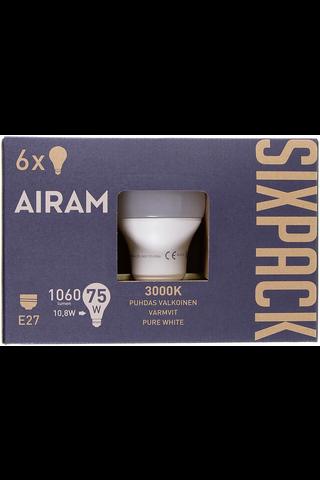 Airam led 10,8W vakio opaali E27 1060lm 3000K sixpack