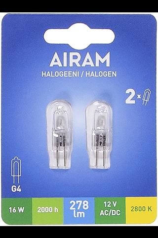 Airam Halogeeni 16W G4 12V 278lm 2kpl/pak