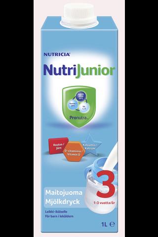 NutriJunior 3 1L maitojuoma leikki-ikäiselle 1-3v