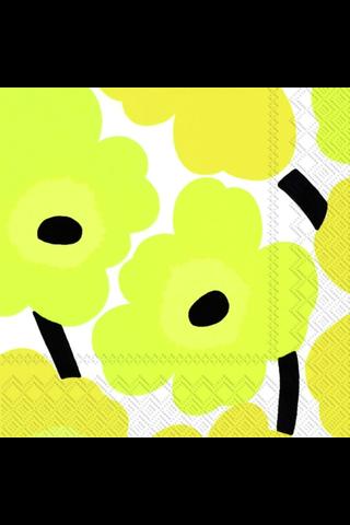 Marimekko Unikko keltainen servietti 25x25cm 20kpl