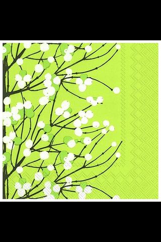 Marimekko Lumimarja 20kpl vaalean vihreä servietti