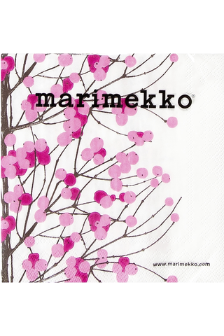 Marimekko Lumimarja 20kpl valkovaaleanpunainen servietti