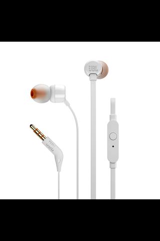 JBL T110 nappikuulokkeet mikrofonilla valkoinen