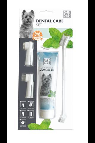 M-Pets Koiran hoitosetti, sormihammasharja 1kpl,hierontaharja 1kpl, kaksipäinen hammasharja 1kpl, hammastahna 100ml