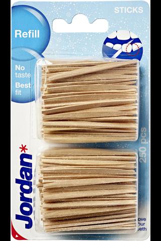 Jordan hammastikku täyttöpakkaus 2x125kpl
