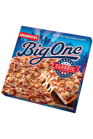 Grandiosa Big One pan pizza classic, juustoa, tomaattikastiketta ja naudanlihaa 560g