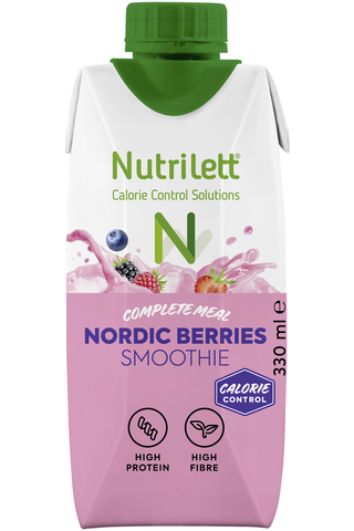 Nutrilett 330ml Nordic Berries smoothie ateriankorvike 30% vähemmän sokeria