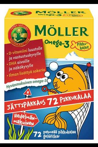 Möller 86g/72kpl omega-3 pikkukalat hedelmänmakuinen omega-3-rasvahappo-D-vitamiinivalmiste ravintolisä