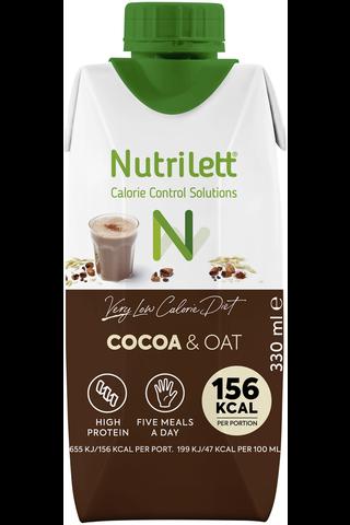 Nutrilett Cocoa & Oat vähälaktoosinen VLCD valmis kaakao&kauramaitopirtelö  330ml
