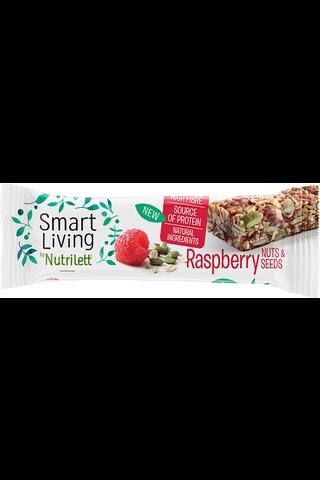Nutrilett 40g Smart Living Raspberry Nuts&Seeds Bar vadelma-pähkinä-siemenpatukka
