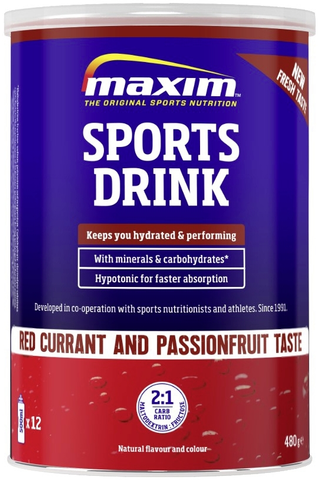 Maxim 480g Sports Drink Red Currant & Passion Fruit punaherukan ja passionhedelmän makuinen urheilujuomajauhe