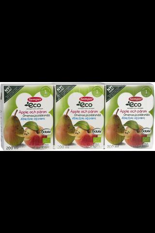 Semper ECO 3 x 200ml Luomu Hedelmämehu Omenaa ja päärynää alkaen 1v.