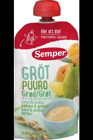 Semper 120g Puuro päärynä & aprikoosi alkaen 6 kk käyttövalmis lastenpuuro