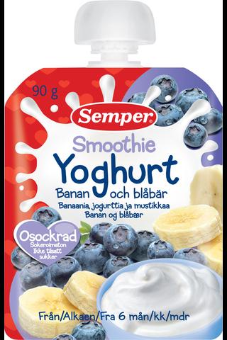 Semper 90g Smoothie banaania, jogurttia ja mustikkaa alkaen 6 kk