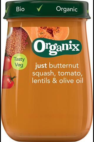 Organix Luomu Myskikurpitsa, tomaatti, linssit & oliiviöljy 190g, vihannessose  alkaen 6 kk