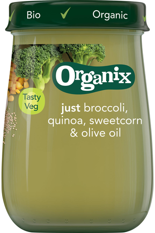 Organix Just Luomu Parsakaali. maissi, kvinoa & oliiviöljy 190g, vihannessose alkaen 6 kk