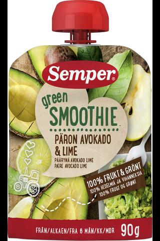 Semper 90g Green Smoothie päärynä avokado lime alkaen 6 kk